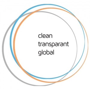 3 circles, one in blue, one in orange and one in grey, and in black written inside Clean Transparent Global