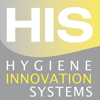 Logo in yellow and grey, top part yellow and in whit HIS bottom part in grey and in white: Hygiene innovation system